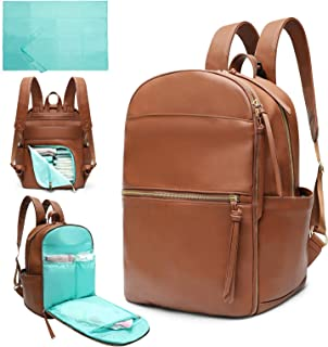Diaper Bag Backpack Mominside Leather Diaper Bag for Mom and Dad Baby Bag for Boys and Girls with Insulated Pocket, Changing Station, Stroller Straps, Large Capacity for Wet Clothes(Brown)