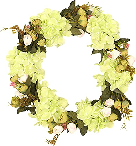 high quality OPTIMIIC Peony Hydrangea Wreath Artificial Peony outlet online sale Flower Wreath Door Wreath with Green new arrival Leaves Spring Wreath for Front Door,Wedding,Wall, Home Decor, 11.8In, Yellow online sale