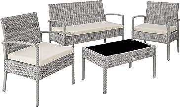 tectake 403706 Wicker zitgroep bank, stoelen en tafel - diverse kleuren - lichtgrijs