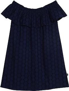 girls navy eyelet dress