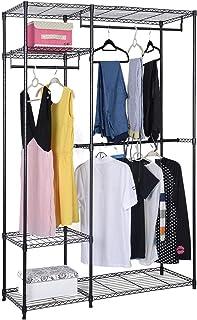 Costway Armoire de Rangement Penderie de Vêtement Portable avec 3 Barres Cadre en Acier Charge Max 31kg 120x45x180 cm Noir