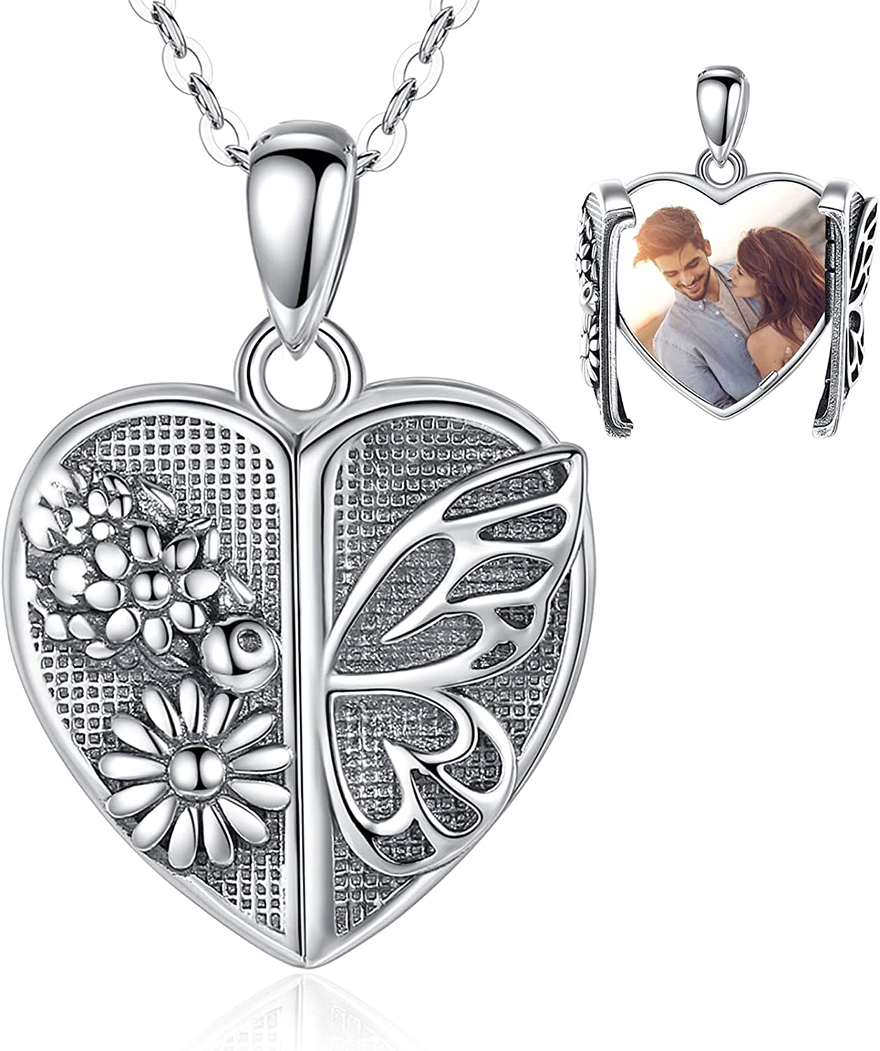 INFUSEU Sterling Low price Silver Dainty Small 100% quality warranty! Necklaces that Holds Locket