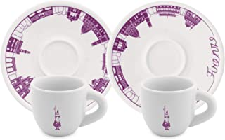 """Bialetti:"""" Firenze"""" Set of 2 Coffee Cups and Saucers"""