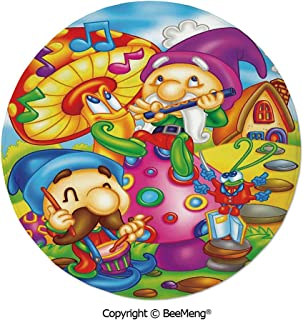 Diameter31 inch,Printing Round Rug,Dragonfly,Mat Non-Slip Soft Entrance Mat Door Floor Rug Area Rug for Chair Living Room,,Kids,Cartoon Style Singing Elves with Mushroom Playing Flute Musical Cheerful