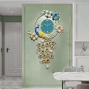 Large Peacock Wall Clock Metal Design Wall Art Clocks Battery Powered Non-Ticking Silent Digital Wall Clocks for Living Room Decor