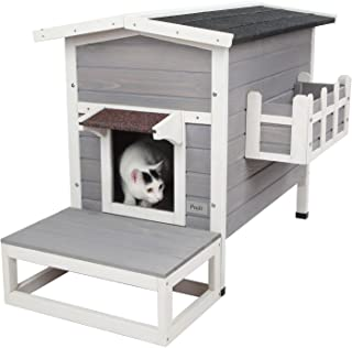 Petsfit Weatherproof Outdoor Cat Shelter/House/Condo with Stair 27.5
