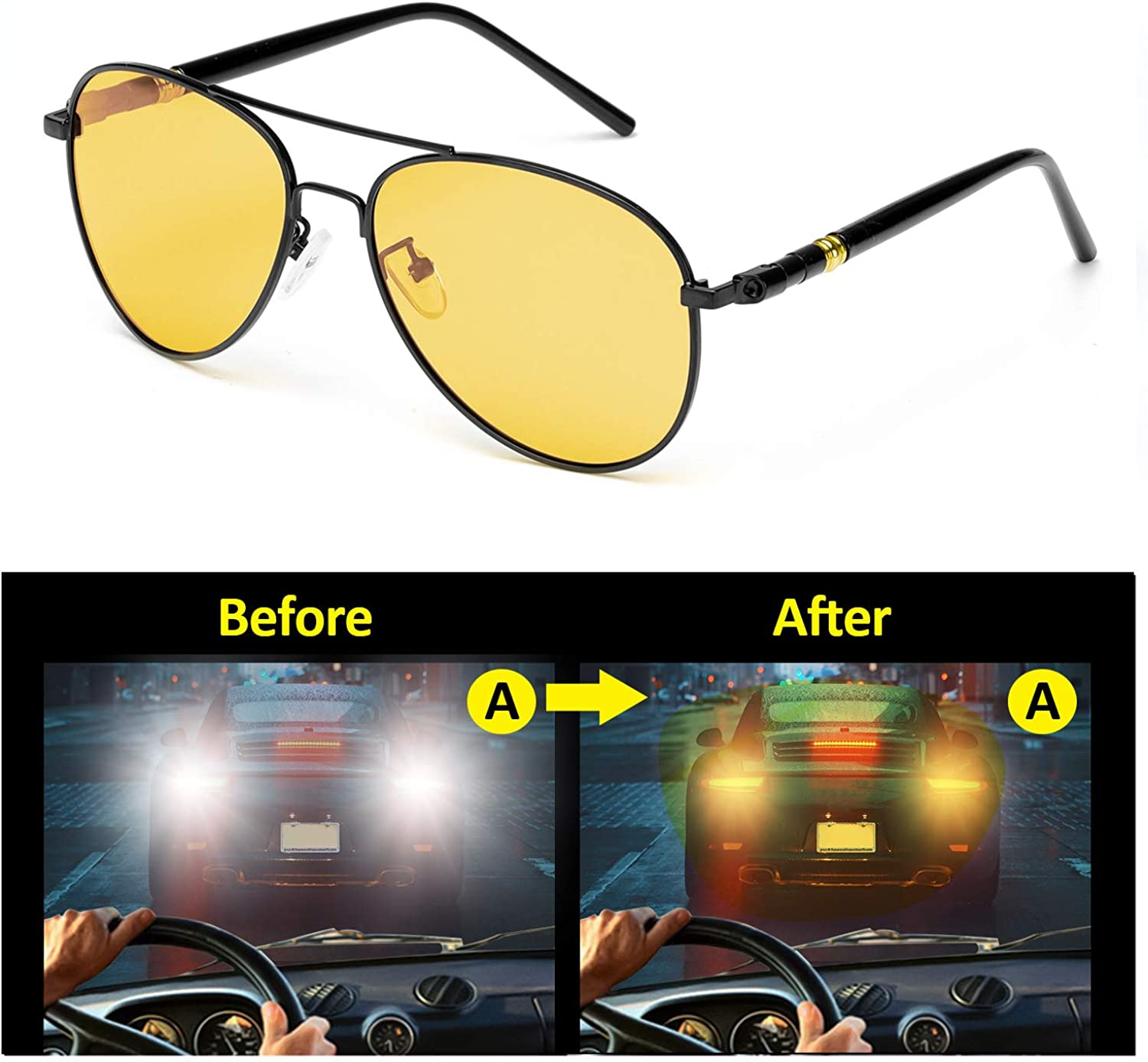 Anti-glare Eyewear Polarized HD Night-Vision Glasses for Safe Driving 100/% UVA UVB Protection SODQW Night-Driving Glasses