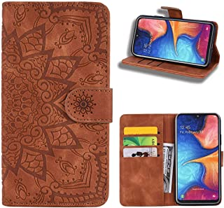 EUDTH Galaxy A70 Case, [3D Emboss Flower Pattern] Magnetic Flip Cover [ Card Slots & Stand ] Leather Wallet Case for Samsung Galaxy A70 - Brown