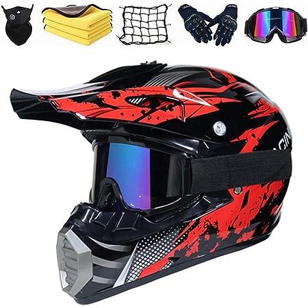 Casco Cross Bambino SYANO Motocross Casco Face Mask Casco di Sicurezza Stereo Traspirante,Moto Casco Motocross Kit con Occhiali Rete Elastica Moto L Guanti Downhill Casco