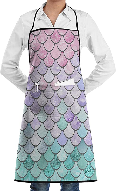 NiYoung Garden Apron Ultra Durable Waterproof Bib With Pocket Cooking Crafting Drawing Colorful Mermaid Fish Scales Aprons For Dish Washing Cleaning Oil Resistant Apron 28x20 Inches