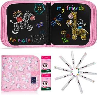 JOYUE Enfant Licorne Doodle Planches, Enfant Tableau de Dessin Effaçable Enfant Dessin Livre, Jouets Educatifs, Jouets Des...