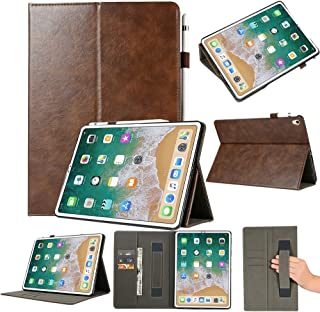 LFPING New Top-Grain Leather Protective Case for iPad Pro 11 inch (2018), with Holder & Card Slots & Wallet (Color : Brown)