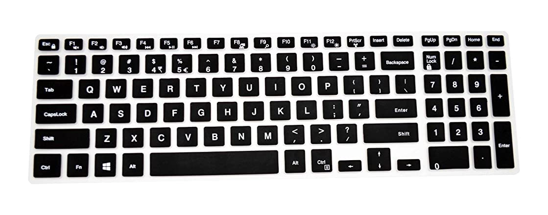 PcProfessional Black Ultra Thin Silicone Gel Keyboard Cover for Dell Inspiron 15 5000 Series 15.6
