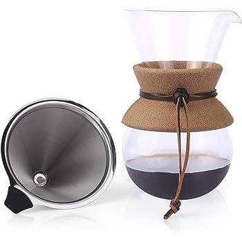 Senza foglietti POUR Over CAFFETTIERA VASCHETTA Acciaio Inossidabile Riutilizzabile Drip Cono