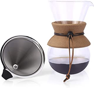Apace Living Pour Over Coffee Maker - 2019 Edition - Elegant Coffee Dripper Brewer Pot w/Glass Carafe & Permanent Stainless Steel Filter (27 oz)