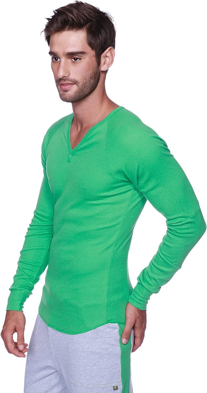 贈答 4-rth Men's Ribbed Thermal V-Neck 公式 Henley Sleeve Long