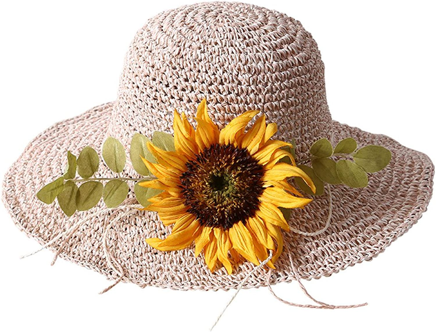 Hats Sun Hat Sports Cap Student Top Cap Visor Beach Cap Lady Summer Straw Hat Sunflower Flower Beach Sun Hat Sun Hat Bicycle (color   Beige, Size   57 cm)