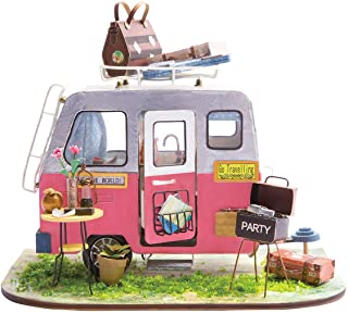 (Camper) - Rolife Dollhouse DIY Craft House Kit-Small Sized Miniature with Accessories and LED-Wooden Model Building Set-C...