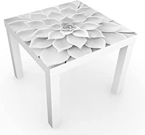 Bilderwelten Table Basse Design - Cactus Succulent - 55x55x45cm, Couleur de la Table: Table de Blanc, Dimension: 55 x 55 x 45cm
