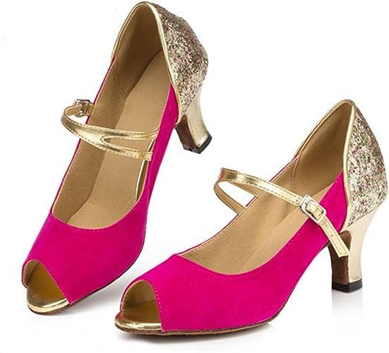 LEIT YFF Cadeaux Femmes Dance Danse Danse Latine Dance Tango Chaussures 7.5cm,Rose rouge,41