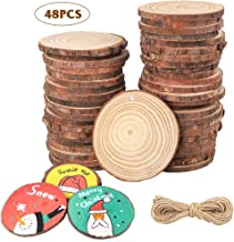 AGEOMET Natural Wood Slices 48pcs 2.4-2.8 Inches Craft Unfinished Wood kit with Hole and Jute Twine Wooden Circles for Crafts Christmas Ornaments Arts Wedding Decoration