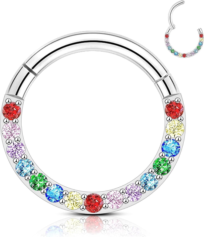 CM Crareesi Mania Daith Piercing Rings Rainbow CZ Stainless Steel Septum Piercing Rings 16g Helix Piercing Clicker Rings Tragus Ear Lobe for Women Conch Piercing Segment Rings