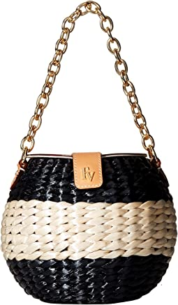 Frances Valentine Honeypot Color Block Straw Bucket Bag