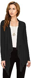 Women's Drape Front Open Cardigan Long Sleeve Irregular Hem S-5XL Plus Size Made in USA