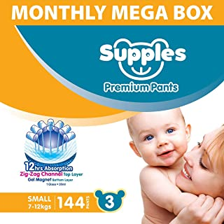 Supples Pant Style Diaper Mega-Box, Size 3, 7-12kgs, 144 Count