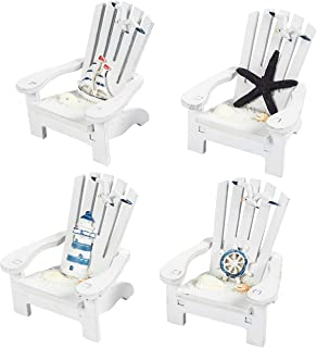 Juvale Wooden Chair Ornament, 4 Piece Desk Decorations Beach Design, Ocean DecorLiving Room, Bedroom Dining Room, 4 x 3.75 x 3.75 inches