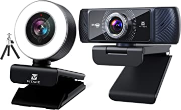 Bundle: Vitade 960A Webcam 1080P with Microphone & Ring Light (Tripod Included), Vitade 682H Webcam 1080P 60fps with Micro...