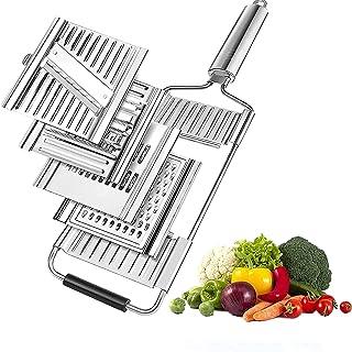 Coupe Legume Mandoline de Cuisine 4 en 1 Manuelle Coupe Legumes Multifonctions en Acier Inoxydable 4 Modes Trancheuse Coup...