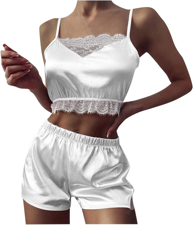 Futurelove Women Two Piece Sexy-Lingerie Sleepwear Satin Silk Babydoll Lace Up Breathable Charmful Nightwear Pajamas Set