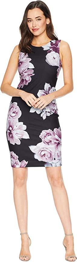 Printed Crepe Sheath Dress