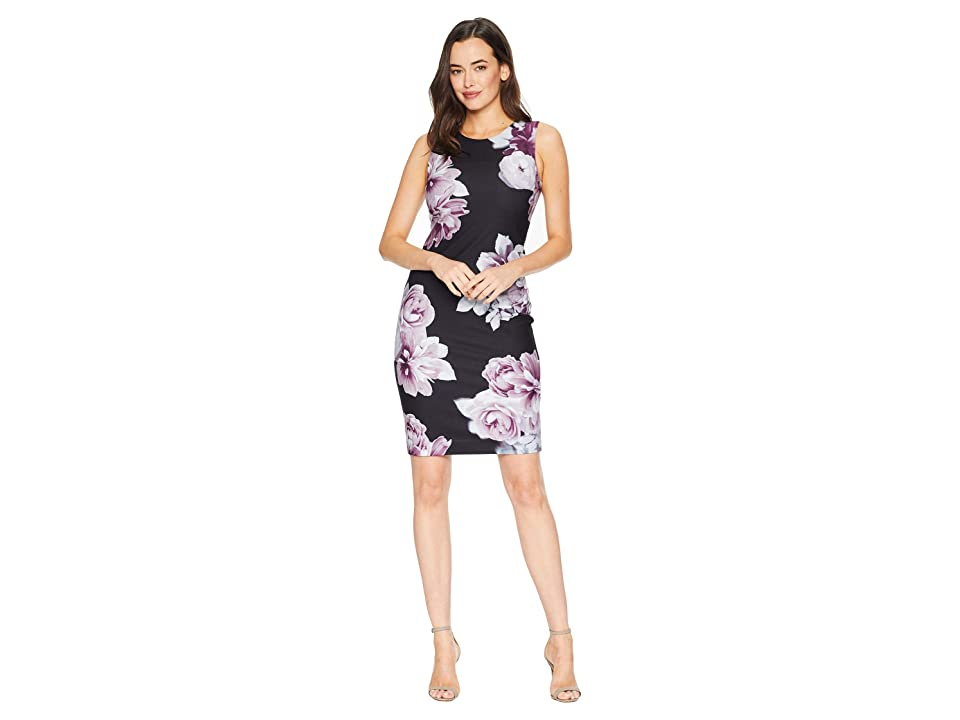 Calvin Klein Printed Crepe Sheath Dress (Black Multi) Women