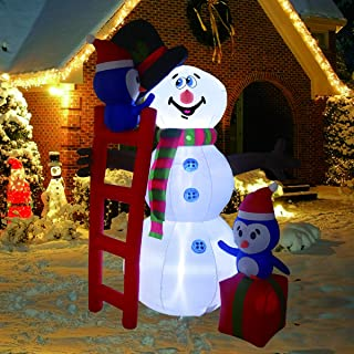 6 Foot High Inflatable Snowman with Penguins LED Light Up Christmas Xmas for Blow Up Yard Decoration, Indoor Outdoor Garden Christmas Decoration