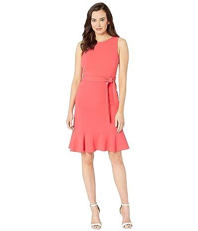 Calvin Klein Ruffle Hem Dress w/ Tie Belt (Watermelon) Women
