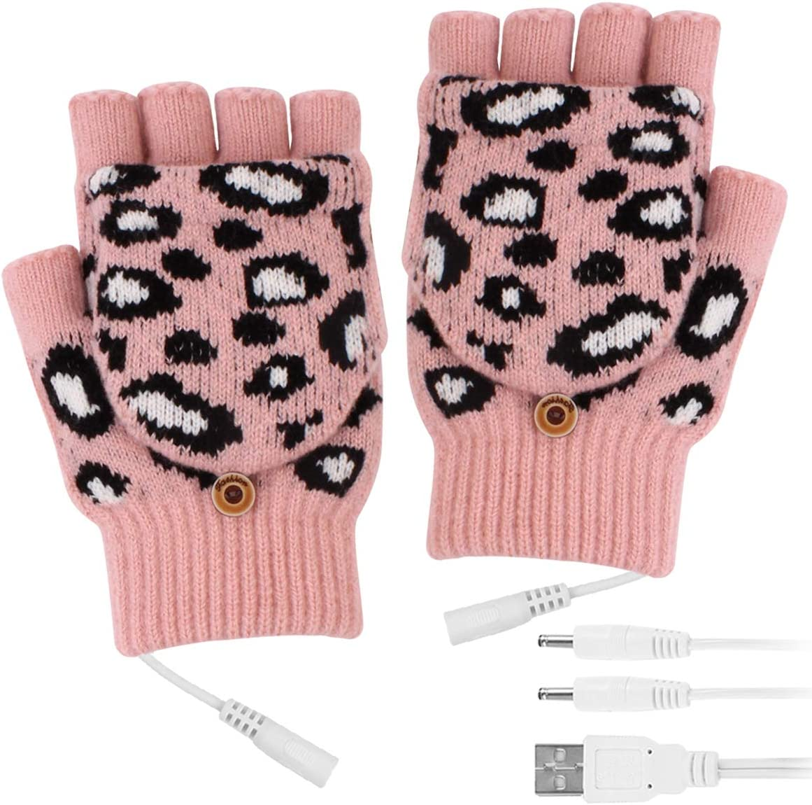 Camidy Women USB Heated Gloves Warmer Rechargeable Laptop Gloves with 3 Temperature Level 3 Timer Winter Heated Gloves with Finger Cover for Typing Hiking Cycling (Pink)