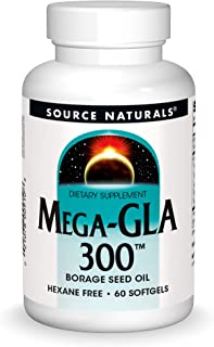 Source Naturals Mega-GLA 300 - Borage Seed Oil That is Hexane-Free - 60 Softgels