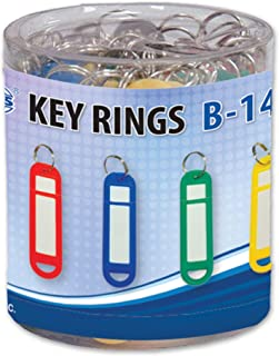 FIS Key Rings 50 Pieces Per Pack, Assorted Colors, 6.8 x 1.8 cm Size - FSKCB-14