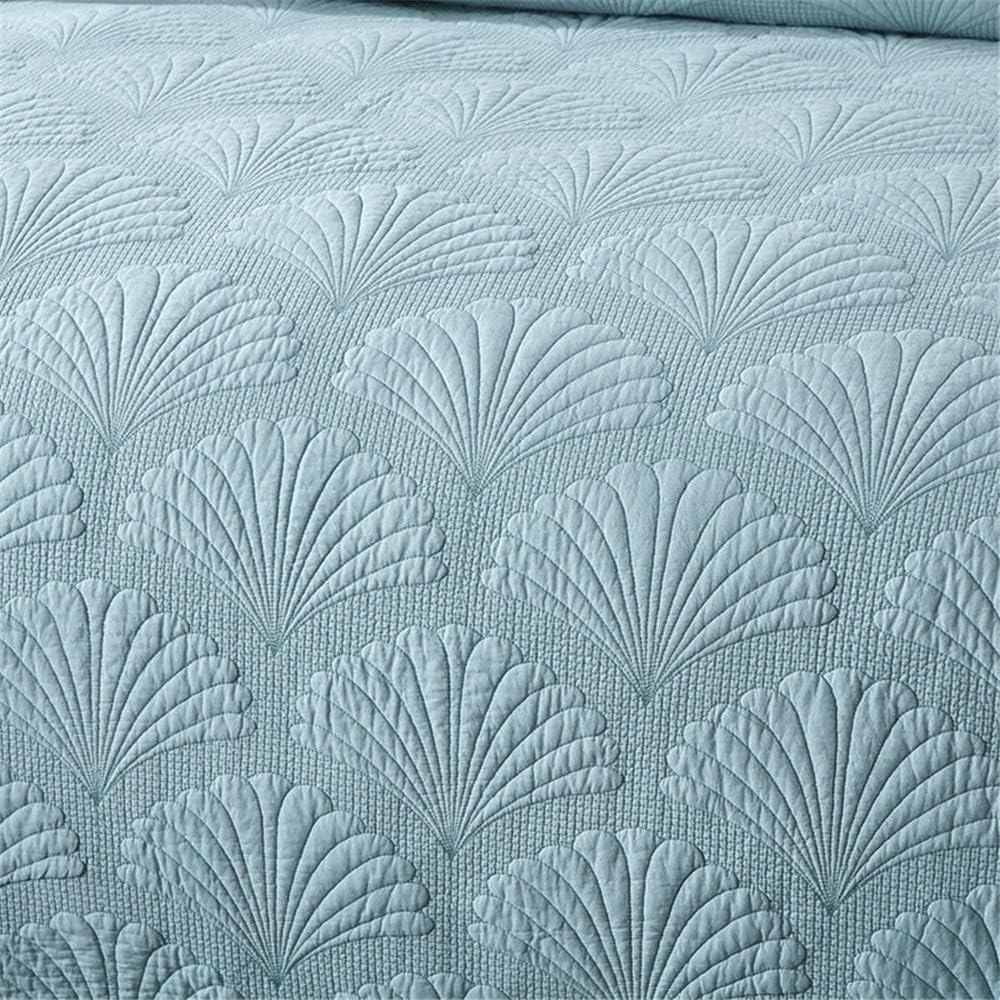 Set 3Pcs Couvre-Lit Piqué Palm Relief 230X250cm Avec 2 Taies D'oreiller 50X70cm, Réversible En Drap Ou Couverture,Rose Light Blue