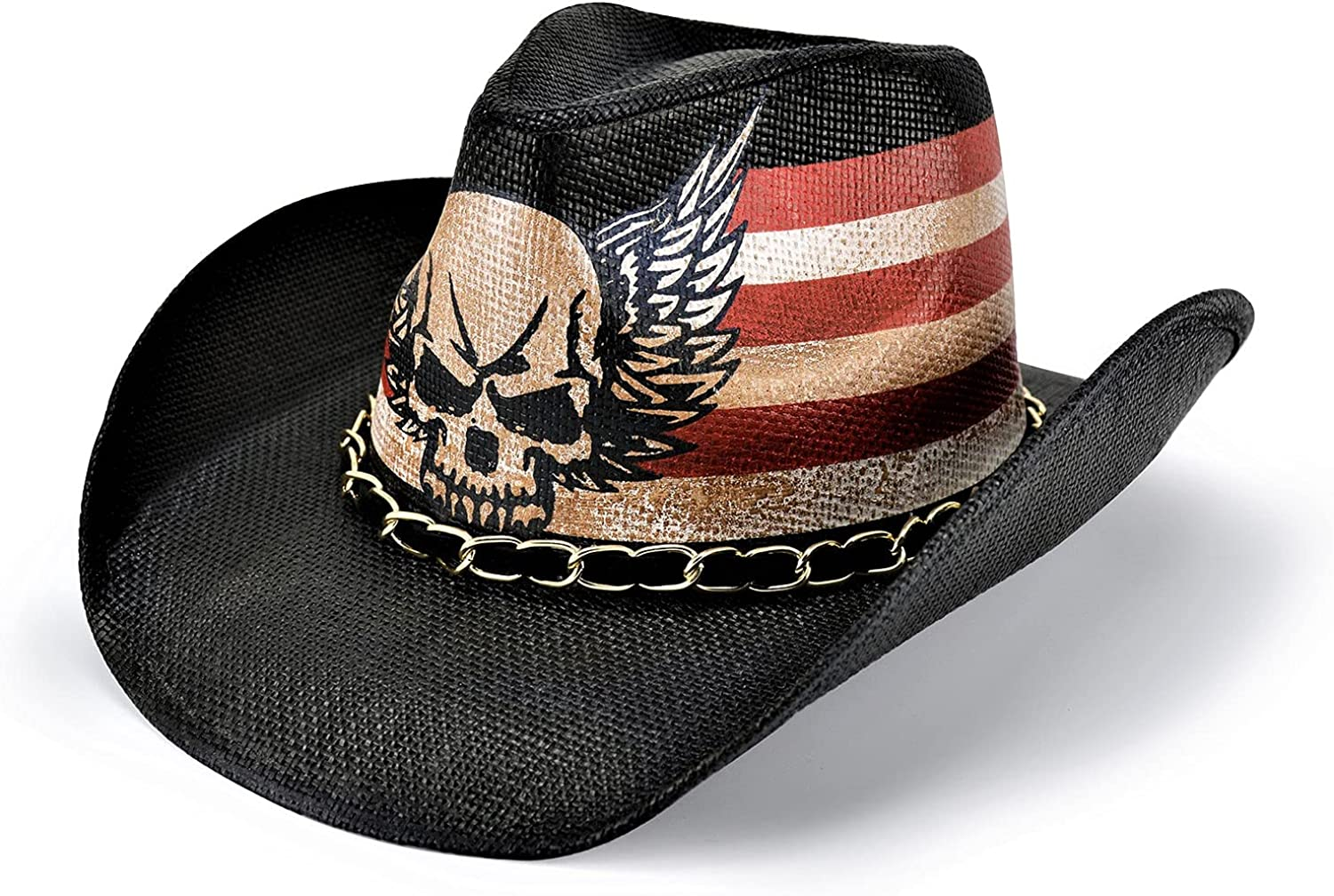 FLUFFY SENSE. Vintage USA American Flag Cowboy Hat Classic Western Style Tea Stained Unisex Cowboy Cowgirl Hat