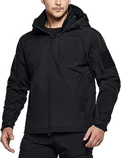 CQR Men's Tactical Softshell Detachable Hoodie Hiking Hunting EDC Lightweight Fleece Coat Jacket