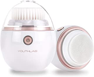 YOUTHLAB Pure Radiance Sonic Facial Cleansing Brush, Vibrating, Electric, 3 Modes, 3 Brush Heads (2 Bristle,1 Silicone), Waterproof, Rechargeable, Smart Timer, Exfoliating, Massage, Acne, Black Heads
