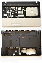 Rinbers Bottom Cover Base Back Shell Lower Case and Upper Top Case Palmrest Keyboard Bezel with Touchpad for Gateway NE51B NE56R NE56R27U NE56R34U NE56R31U and Acer Aspire E1-521 E1-531 E1-571