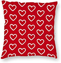 20 x 20 Inch Pillow Case, Cute White Doodle Hearts On Red Decorative Throw Pillow Cover Cushion Case