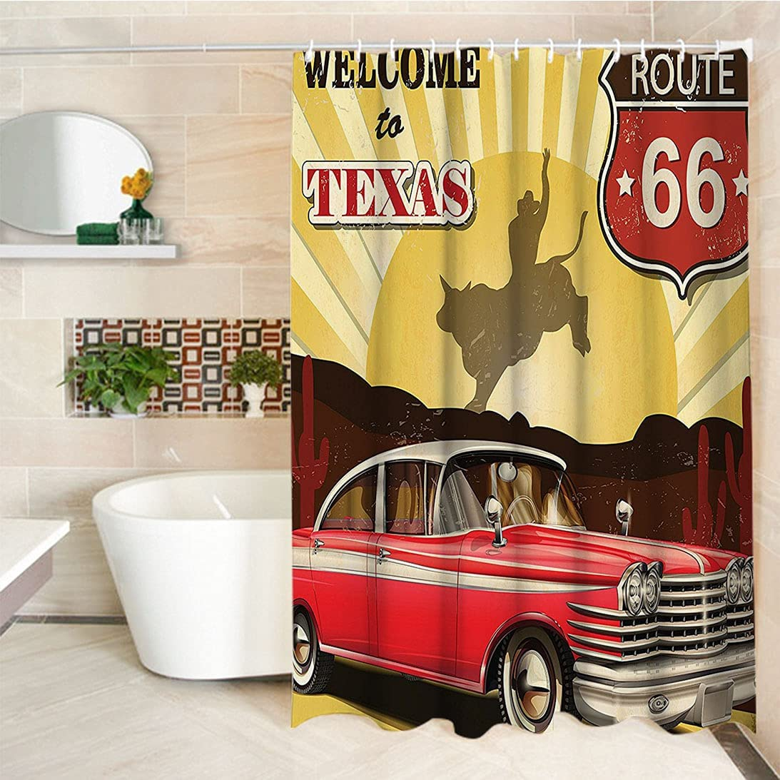 Vintage Decor Custom Shower Curtain to Signboard Welcome Chicago Mall Max 60% OFF Texas