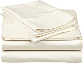 Heavy Weight Egyptian Cotton, Hotel Classic Ivory Solid 4 Pieces Queen Bed Sheet Set ,25 Inches Deep Pocket
