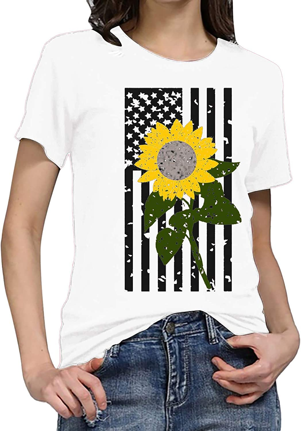 Tops for Women,Women's Short Sleeve Loose Fit Sunflower Print Round Neck T-Shirts Tee Blouses