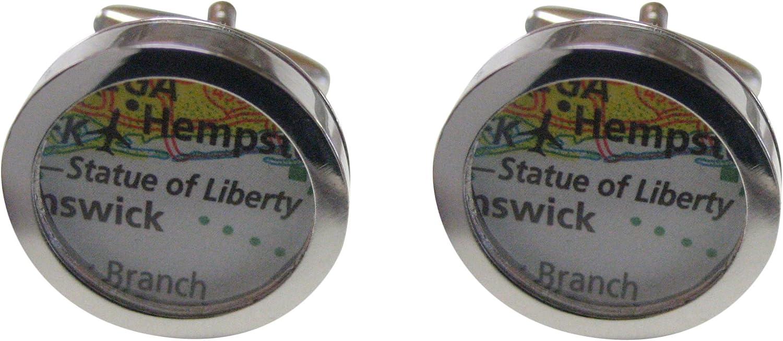 Kiola Designs Statue of Liberty Map Cufflinks